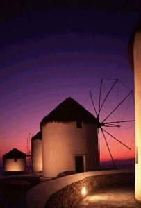 Mykonos Windmills at Sunset