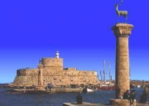 Rhodes Harbor Entrance, ornated by a pair of deer, where the Colossus was believed to have stood.