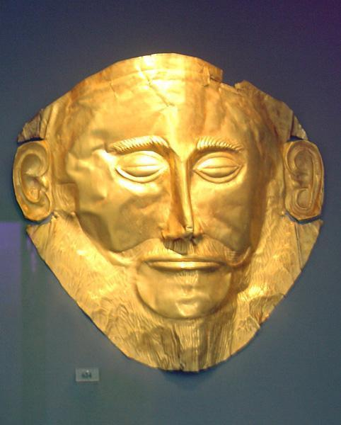 Athens National Archaeological Museum: Exhibit 624. Gold death-mask, known as the \'mask of Agamemnon\'. (Grave V, Grave Circle A, Mycenae, 16th century BC)