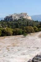 Pnyx Archaeological Site: Orator's Bema on Pnyx and the Acropolis rock with the Parthenon