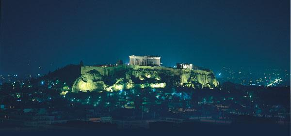 Acropolis of Athens Night View