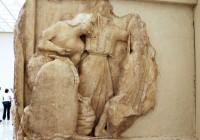 The beginning of the North frieze, depicting the Gigantomachy.