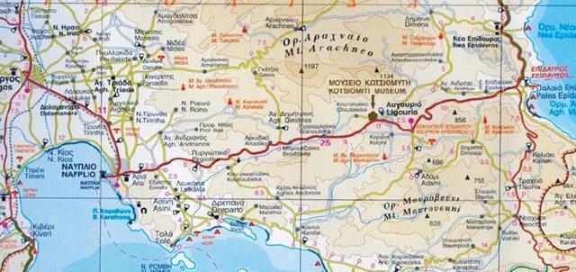 Χάρτης Αργολίδας που περιγράφει το δρομολόγιο προς το Μουσείο Φυσικής Ιστορίας Κωτσιομύτη