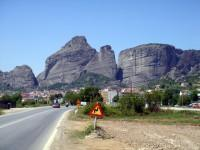 Entering Kalambaka at the foot of Meteora