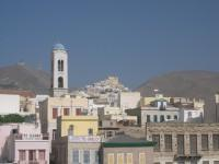 Syros Port Buildings with Ano Syros Hill in the Backgound