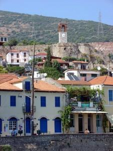 Nafpaktos: Port houses, part of the Castle and the clock tower